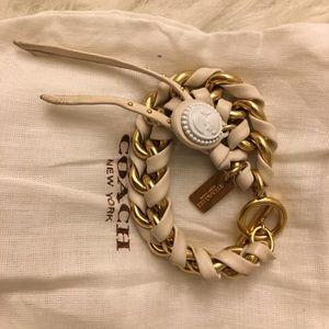 💯✅Authentic Coach leather wrap metal bracelt